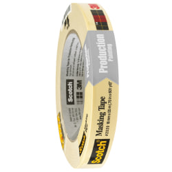 "3M™ 2020 Masking Tape, 3"" Core, 0.75"" x 180', Natural, Case Of 12"