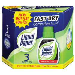 Paper Mate® Liquid Paper® Correction Fluid, Fast Dry & Smooth Coverage, White, Pack Of 3