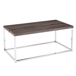 Southern Enterprises Glynn Cocktail Table, Rectangular, Chrome/Gray