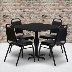"Flash Furniture Square Table With 4 Trapezoidal-Back Banquet Chairs, 30"" x 36"", Black"