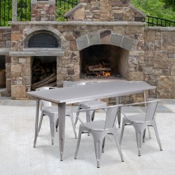 """Flash Furniture Commercial-Grade Rectangular Metal Indoor-Outdoor Table with 4 Arm Chairs, 29-1/2""""H x 31-1/2""""W x 63""""D, Silver"""