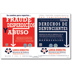 """ComplyRight™ Department Of Defense Fraud And Whistleblower Hotline Poster, Spanish, 17"""" x 11"""""""