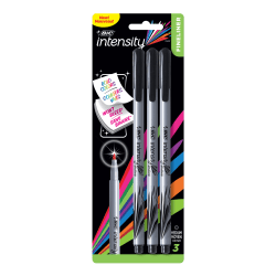 BIC® Intensity Fineliner Marker Pens, Medium Point, 1.0 mm, Silver Barrel, Black Ink, Pack Of 3 Pens