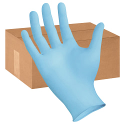 Boardwalk Disposable Nitrile Exam Gloves, Large, Blue, Box Of 100 Gloves