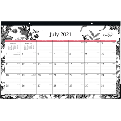 """Blue Sky™ Monthly Desk Pad, 17"""" x 11"""", Analeis, July 2021 To June 2022, 130617"""