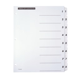 Office Depot® Brand Table Of Contents Customizable Index With Preprinted Tabs, White, Numbered 1-8