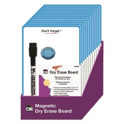"""Charles Leonard Mini Magnetic Unframed Dry-Erase Whiteboards, 9"""" x 6 1/4"""", Blue, Set Of 12 Whiteboards"""