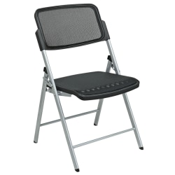 Office Star™ Pro-Line II ProGrid 2-Pack Folding Chairs, Black/Silver