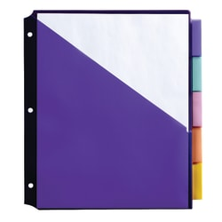 """Office Depot® Brand Double Pocket Insertable Plastic Divider, 5-Tab, 9 1/2"""" x 11 1/4"""", Assorted Colors"""