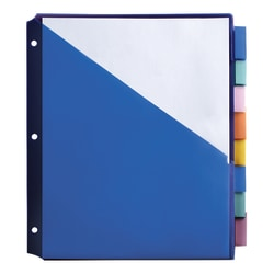 """Office Depot® Brand Double-Pocket Insertable Plastic Divider, 8-Tab, 9 1/2"""" x 11 1/4"""", Assorted Colors"""