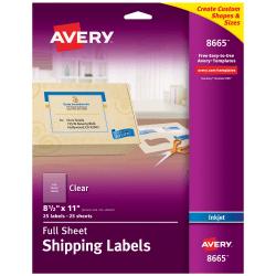 "Avery® Easy Peel® Clear Full-Sheet Labels, 8665, Full Sheet, 8 1/2"" x 11"", Box Of 25"