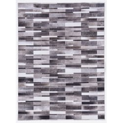 Linon Home Décor Products Bingham Area Rug, 5' x 7', Memphis, Gray/Ivory