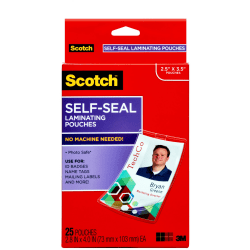 "3M™ Scotch™ Self-Laminating Pouches, For Clip Style ID Badges, 4 1/16"" x 2 5/16"", Box Of 25"