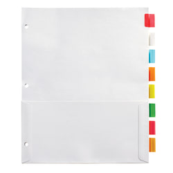 "Office Depot® Brand Insertable Pocket Dividers With Tabs, 9 1/8"" x 11 1/4"", Assorted Colors, 8-Tab"