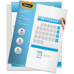 "Fellowes Self-Adhesive Laminating Sheets, 9.25"" x 12"", 3 mil Thick, Clear, Pack Of 50"
