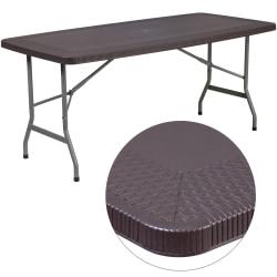 """Flash Furniture Rattan Plastic Folding Table, 28-3/4""""H x 32-1/2""""W x 67-1/2""""D, Brown"""