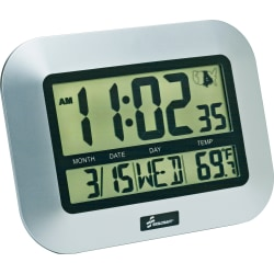 SKILCRAFT® LCD Digital Display Clock, Silver