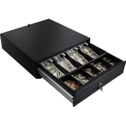 "Adesso 13"" POS Cash Drawer With Removable Cash Tray - 4 Bill - 5 Coin - 2 Media Slot - 3 Lock Position - Steel - 3.3"" Height x 13"" Width x 14.2"" Depth"