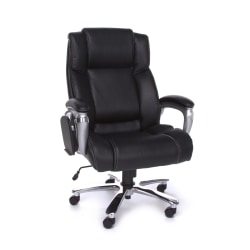 OFM ORO Big And Tall Bonded Leather High-Back Tablet Chair, Black/Silver