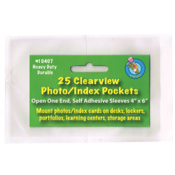 "Ashley Productions Photo/Index Card Pockets, 4"" x 6"", Clear, 25 Pockets Per Pack, Set Of 5 Packs"