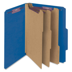 """Smead® Classification Folders, Top-Tab With SafeSHIELD® Coated Fasteners, 3 Dividers, 3"""" Expansion, Letter Size, 50% Recycled, Dark Blue, Box Of 10"""