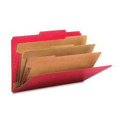 """Smead® Classification Folders, Top-Tab With SafeSHIELD® Coated Fasteners, 3 Dividers, 3"""" Expansion, Legal Size, 50% Recycled, Bright Red, Box Of 10"""