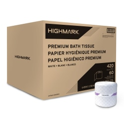 Highmark® Premium 2-Ply Toilet Paper, 420 Sheets Per Roll, Pack Of 60 Rolls