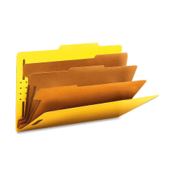 """Smead® Classification Folders, Top-Tab With SafeSHIELD® Coated Fasteners, 3 Dividers, 3"""" Expansion, Legal Size, 50% Recycled, Yellow, Box Of 10"""