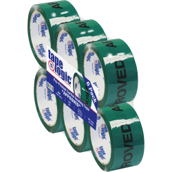 """Tape Logic® Pre-Printed Carton Sealing Tape, Approved, 2"""" x 55 Yd., Green/Black, Case Of 6"""