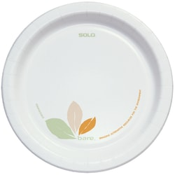 "Solo® Bare Heavyweight Paper Plates Perfect Pak™, 8-1/2"", Case Of 250 Plates"