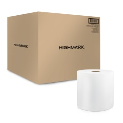 """Highmark® 1-Ply Hardwound Paper Towels, 8"""" x 350', White, Case Of 12 Rolls"""