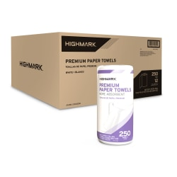 """Highmark® 2-Ply Kitchen Towel Rolls, 11"""" x 9"""", White, 250 Sheets Per Roll, Pack Of 12 Rolls"""