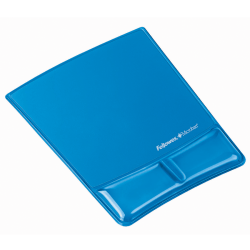 "Fellowes® Mouse Pad and Health-V Gel Palm Support, Microban Protection, 0.88"" H x 8.25""W  x 9.88"" D, Blue"