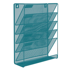 """Mind Reader Wall File Rack Organizer, 16""""H x 12-3/4""""W x 4-1/4""""D, Turquoise"""