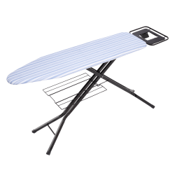 """Honey-Can-Do Quad-Leg Ironing Board With Iron Rest And Sweater Shelf, 39""""H x 15""""W x 15""""D, Black/Blue"""
