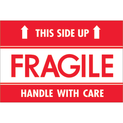 "Tape Logic® Preprinted Shipping Labels, DL2156, Fragile — This Side Up — HWC, Rectangle, 2"" x 3"", Red/White, Roll Of 500"