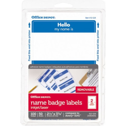"""Office Depot® Brand Hello Name Badge Labels, 2 11/32"""" x 3 3/8"""", Blue Border, Pack Of 100"""
