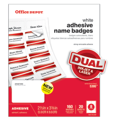 """Office Depot® Brand Name Badge Labels, 2 1/3"""" x 3 3/8"""", White, Pack Of 160"""
