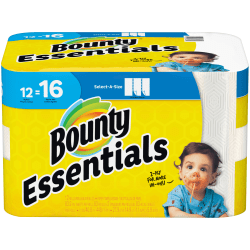 """Bounty Essentials 2-Ply Paper Towels, Select-A-Size, 11"""" x 5 7/8"""", White, 83 Sheets Per Roll, Carton Of 12 Rolls"""