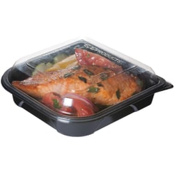 Eco-Products Medium Take-Out Plastic Containers, 100% Recycled, Black, Pack Of 150 Containers