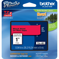"""Brother® TZE451 Label Tape, 15/16"""" x 26 3/16', Red"""