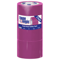 """BOX Packaging Solid Vinyl Safety Tape, 3"""" Core, 3"""" x 36 Yd., Purple, Case Of 3"""