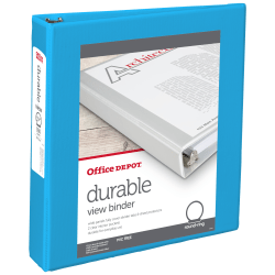"""Office Depot® Brand Durable View Round-Ring Binders, 1-1/2"""" Round Rings, Blue"""