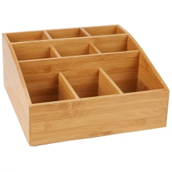 "Mind Reader Square 9-Compartment Condiment Organizer, 12""H x 12""W x 5 1/2""D, Brown"