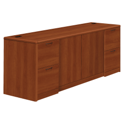 HON® 10700 Series Laminate Double Full-Pedestal Credenza With Doors, Cognac