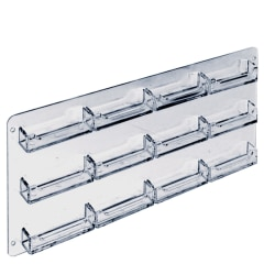 """Azar Displays Business And Gift Card Holders, 12 Pockets, Wall Mount, 18""""H x 10""""W x 3""""D, Clear, Pack Of 2"""