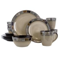 Gibson Elite Casa Gris 16-Piece Dinnerware Set, Cream/Gray