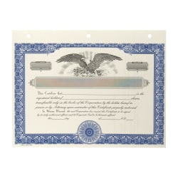 """Corporate Stock Certificates, Non-Personalized, 3-Hole Punched, 8-1/2 x 11"""", Blue, Pack of 20"""