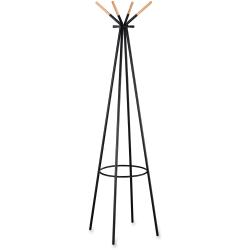 Safco 4-hook Coat Rack - 4 Hooks - for Coat, Jacket, Garment, Accessories, Umbrella - Steel, Wood, Steel - 1 Each