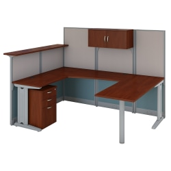Bush Business Furniture Office in an Hour U Shaped Reception Desk with Storage, Hansen Cherry, Premium Installation